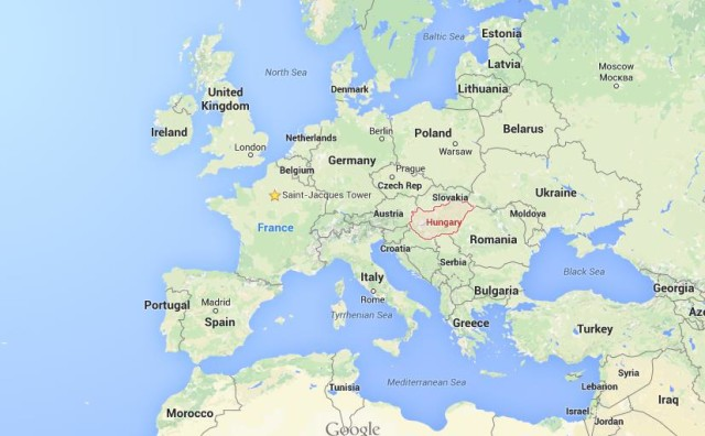 location Hungary on map of Europe