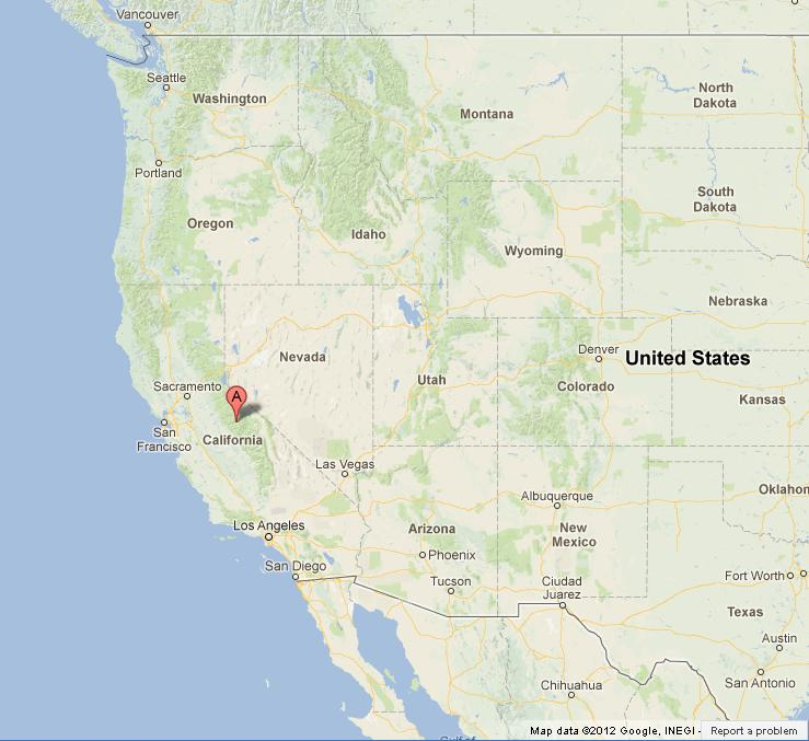 Yosemite National Park on US West Coast Map