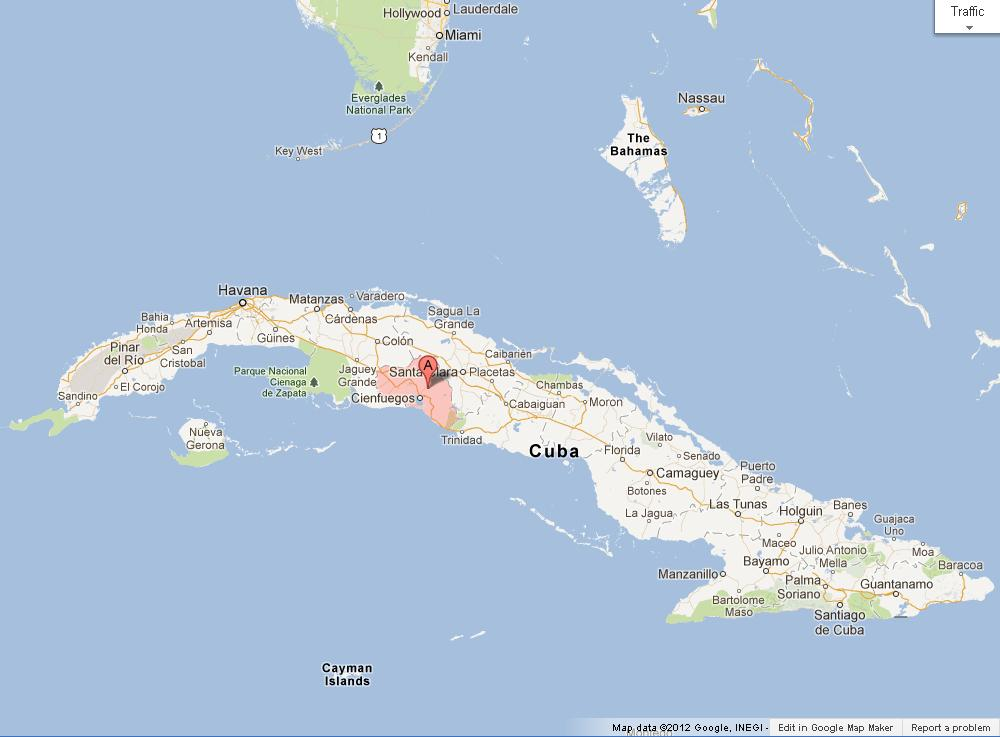 Cienfuegos on Map of Cuba