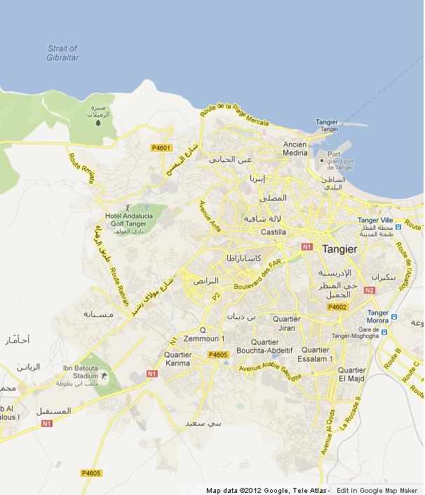 Map of Tangier Morocco World Easy Guides