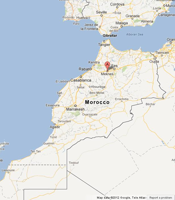 Meknes on Map of Morocco World Easy Guides