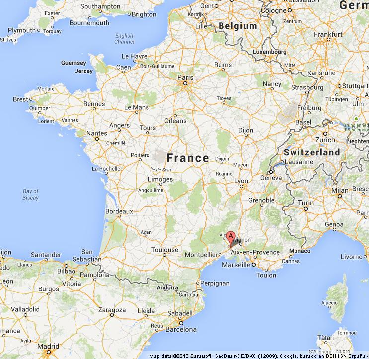 Nimes on Map of France