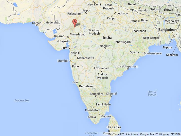 Udaipur on Map of India