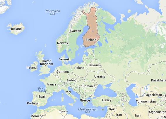 location Finland on Map of Europe