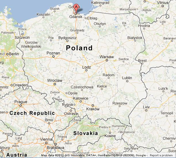 Gdansk on Map of Poland