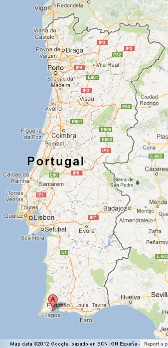 lagos on map of portugal