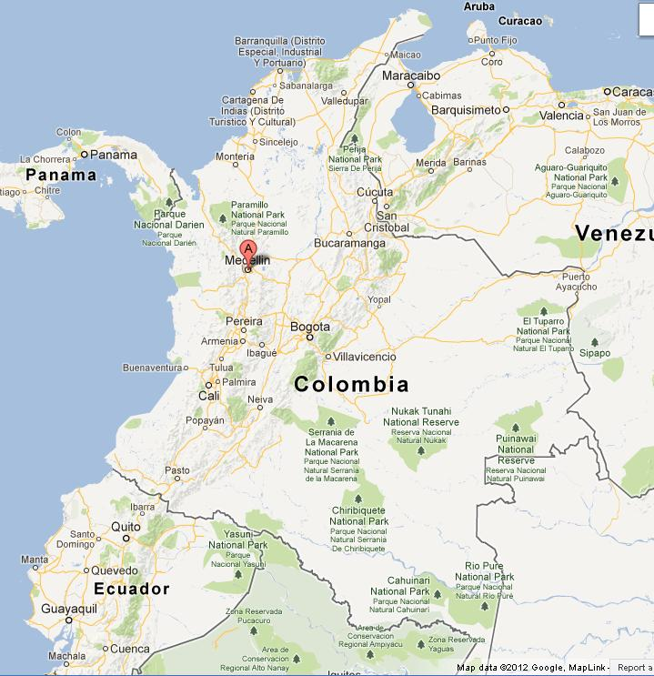 Medellin on Colombia Map