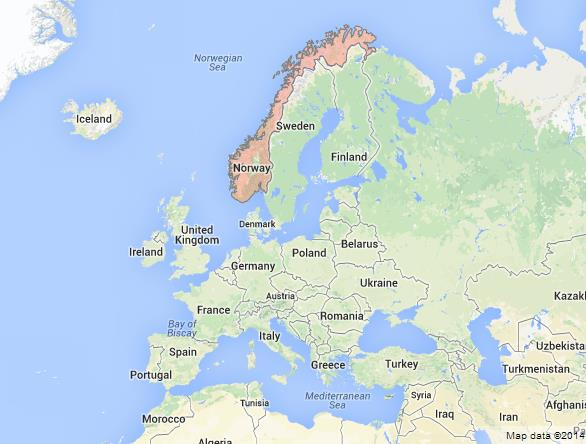 location Norway on Map of Europe, Where is Norway on Map of Europe