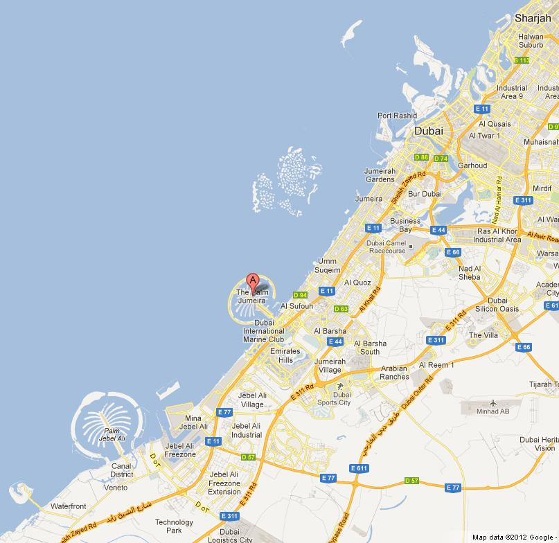 Where is Palm Jumeirah on Map of Dubai World Easy Guides