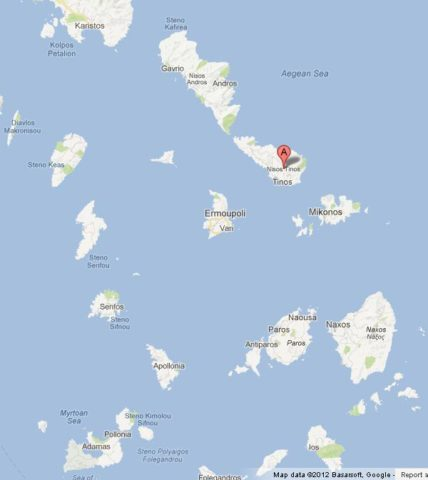 Where is Tinos on Cyclades Islands Map