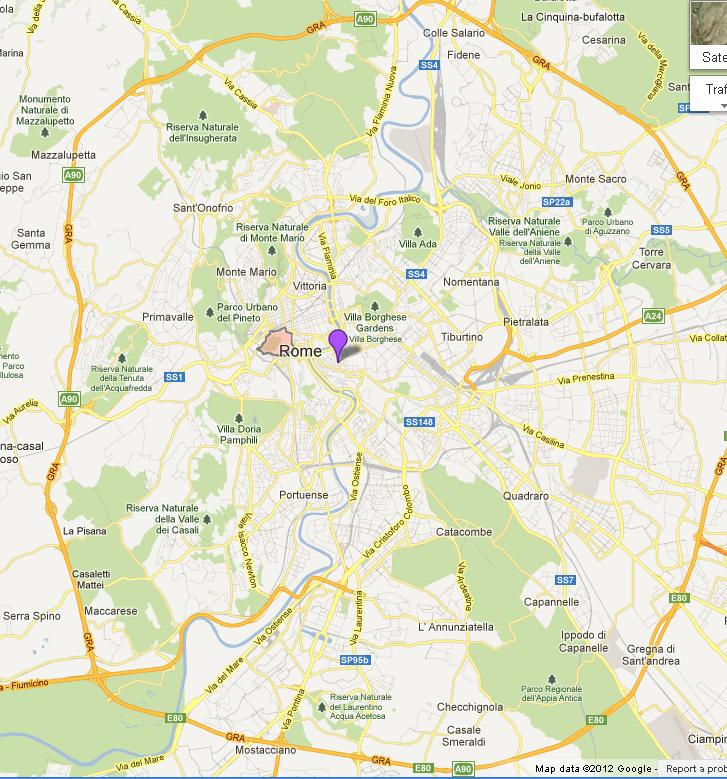 Vatican City on Map of Rome