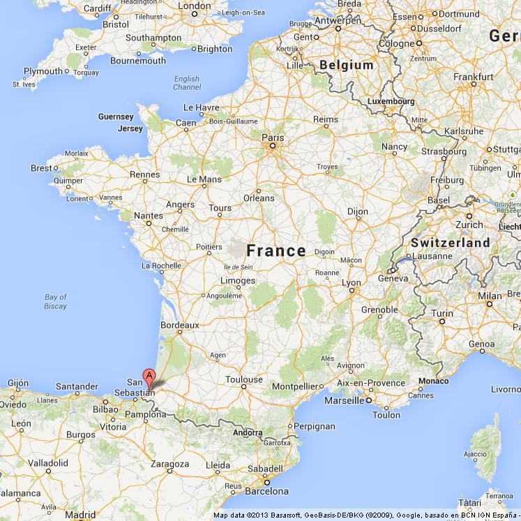 Biarritz on Map of France