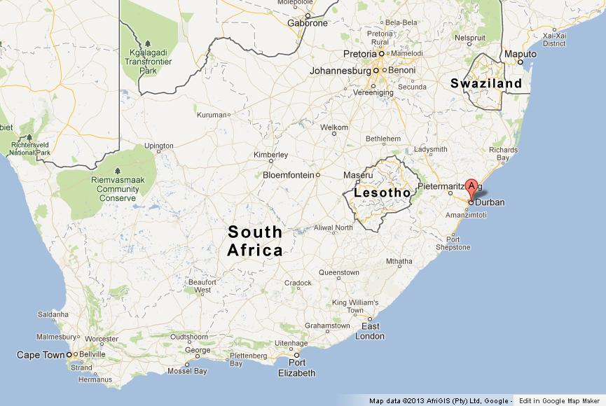 Durban on Map of South Africa World Easy Guides