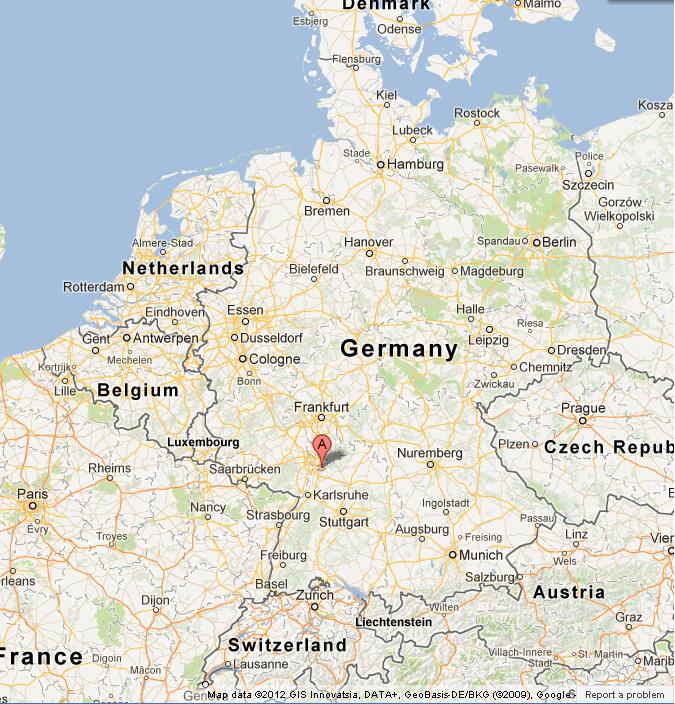 Maps Update 600600 Map of Germany Showing Heidelberg – Map Southern Germany