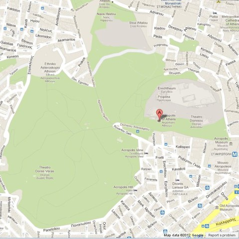 Map of Acropolis of Athens Greece