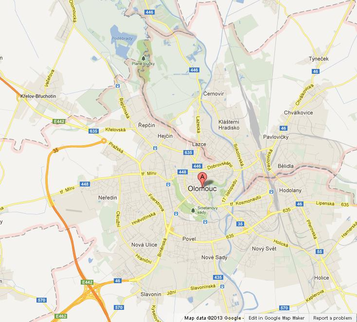 Map of Olomouc World Easy Guides