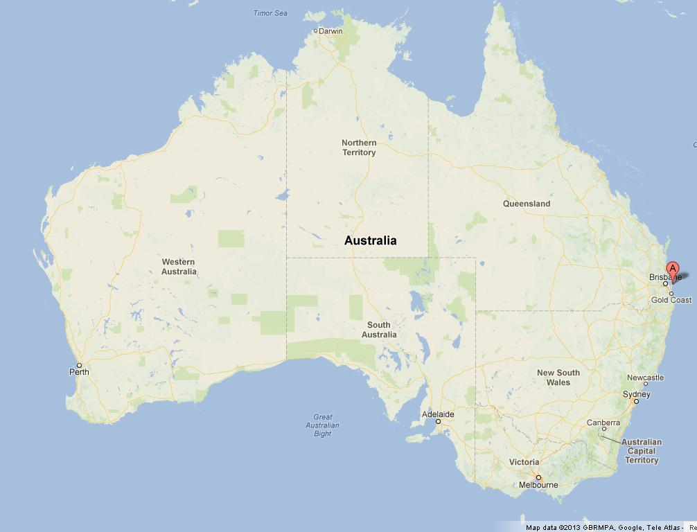 north stradbroke island on australia map