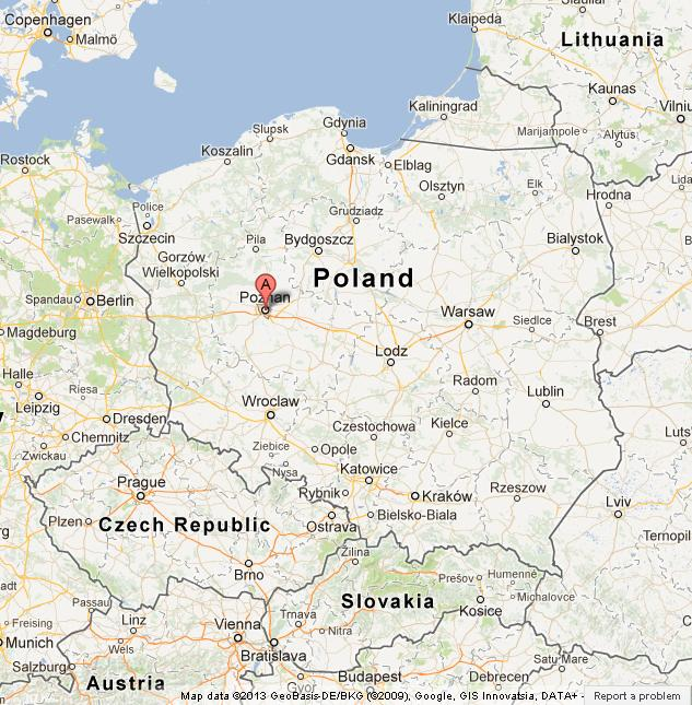 Poznan on Map of Poland