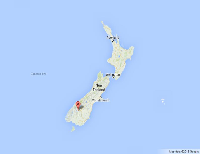 Queenstown on Map of New Zealand on
