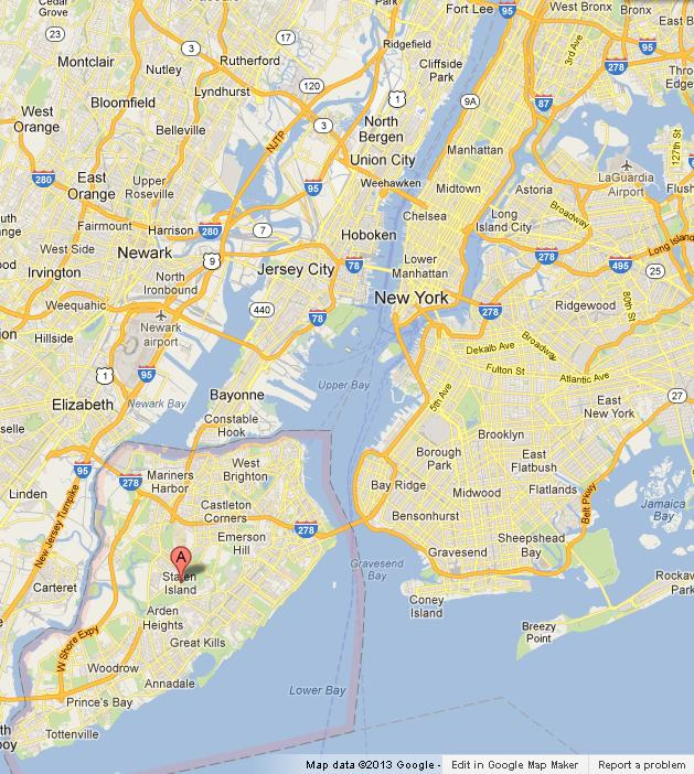 Map Of New York Islands.Staten Island On Map Of New York City