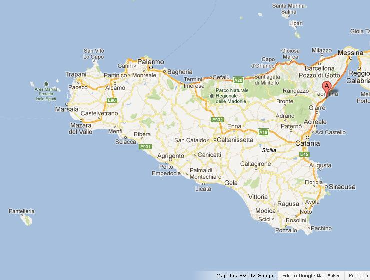 Taormina on Map of Sicily