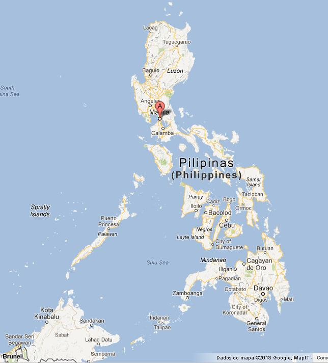 Manila on Map of Philippines