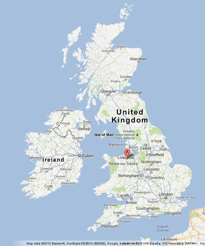 Chester on UK Map
