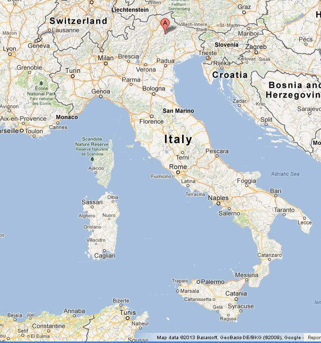 Dolomites on map of italy for Where are the dolomites located in italy