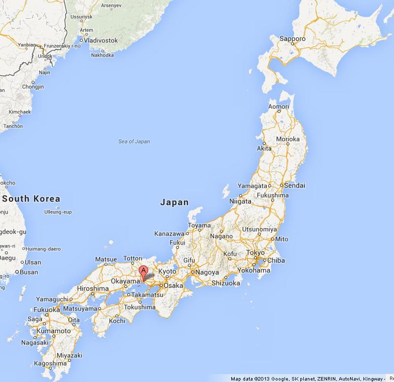 Himeji on Map of Japan World Easy Guides