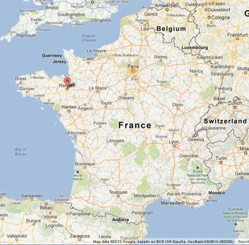 Rennes On Map Of France