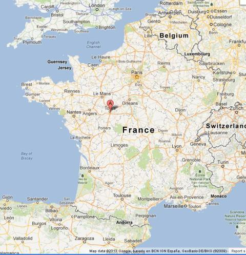 Tours on Map of France World Easy Guides
