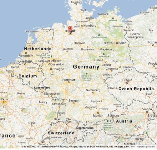 Bremen on Map of Germany