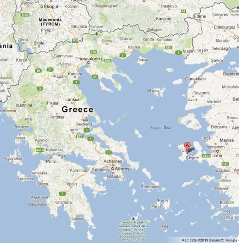 Chios on Map of Greece World Easy Guides