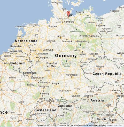 Lubeck on Map of Germany World Easy Guides