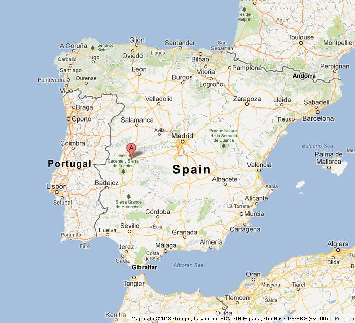 Monfrague National Park on Map of Spain