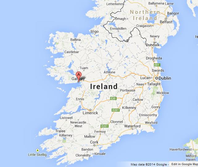 Galway on Map of Ireland