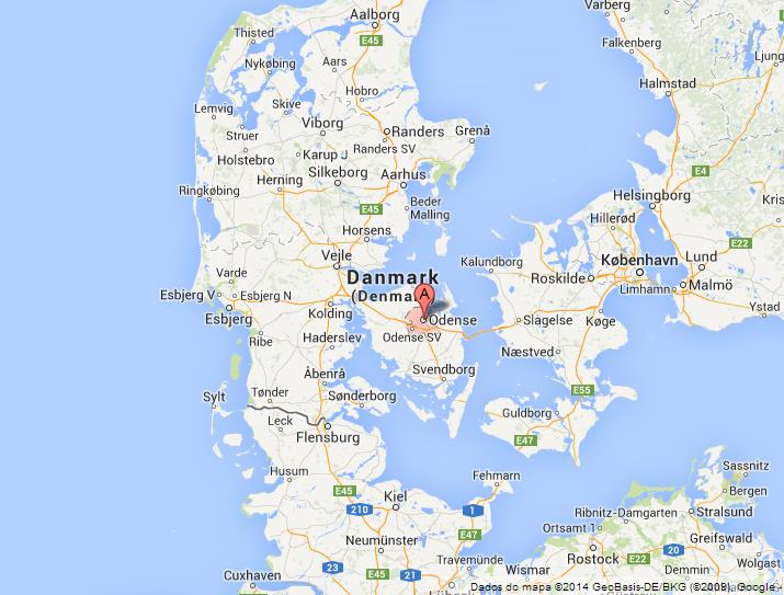 Odense on Map of Denmark World Easy Guides
