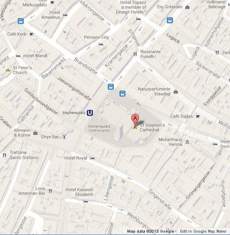 Where is St Stephens Cathedral on Vienna Map