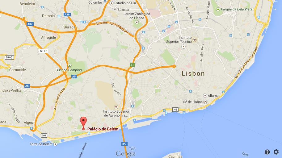 Where is Belem Palace on map Lisbon World Easy Guides