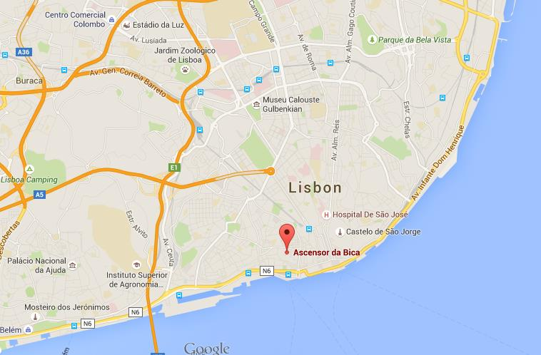 Where is Elevador Bica on map Lisbon World Easy Guides
