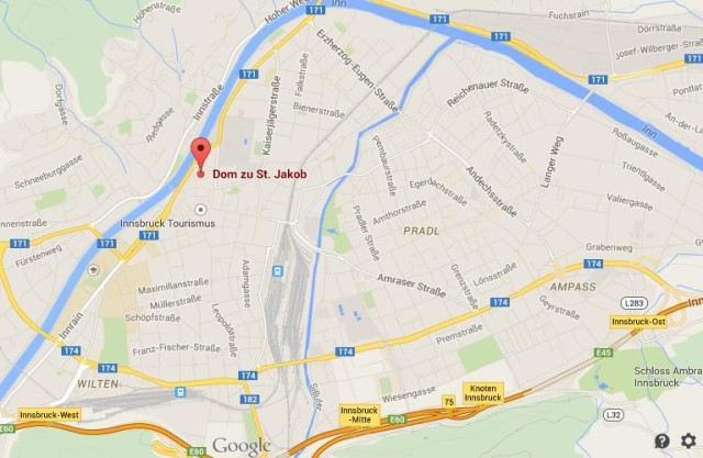 Location St Jacob cathedral map Innsbruck