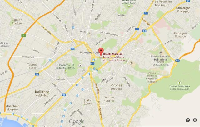 Where is Benaki Museum on map of Athens
