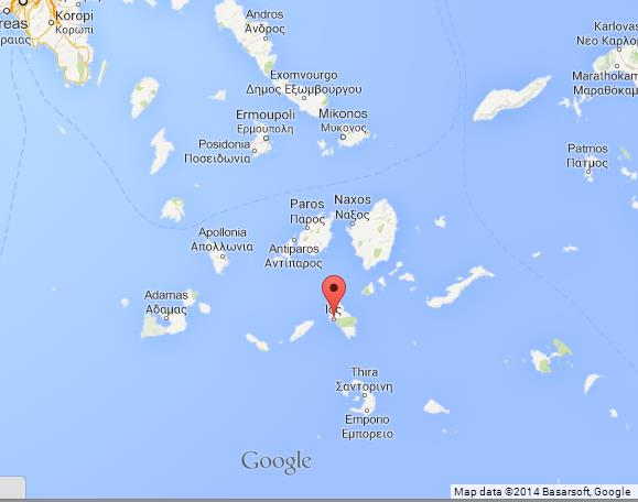 Where is Ios on Map of Cyclades Islands