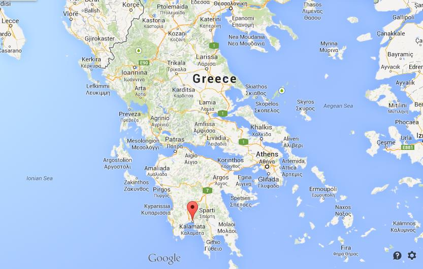 Kalamata on map of Greece World Easy Guides