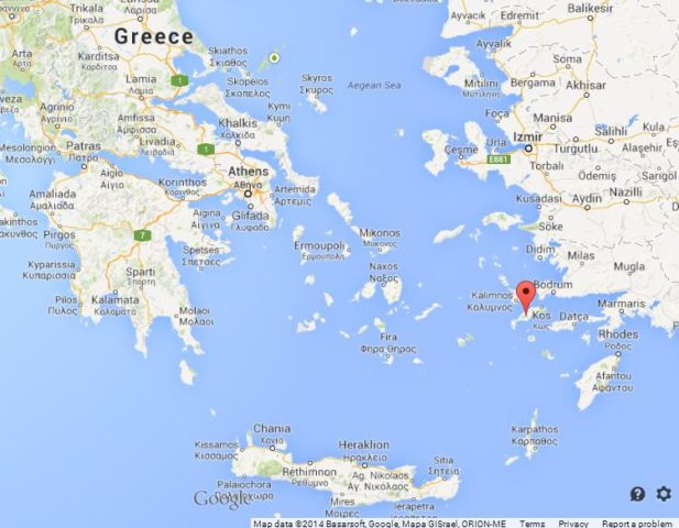 Where is Kos on Map of Greece