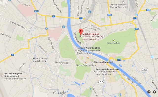 Where is Mirabell Palace on map Salzburg
