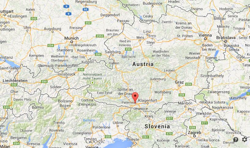 Villach on map of Austria World Easy Guides