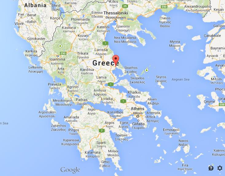 Volos on map of Greece World Easy Guides