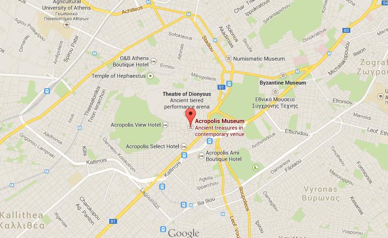 Where is Acropolis Museum on map Athens