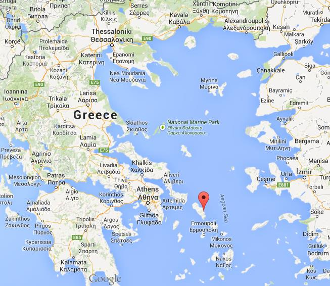 Where is Andros on map of Greece